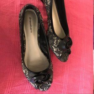 Black lace peep-toe shoes 8.5